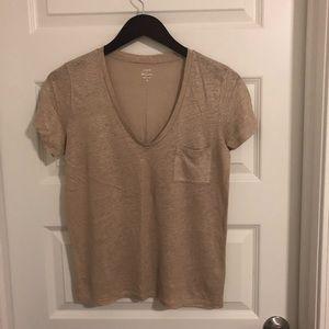 Linen V-neck pocket T-shirt Metallic